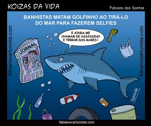 Charge Golfinho Morre por Selfies Fabiano Cartunista www.fabianocartunista.com