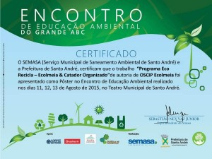 Certificado Poster Ecolmeia Programa ECO Recicla
